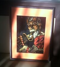Striking Oil On Black Velvet Latin Man Smoking Cigar Look!