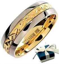 New Boxed ! Mens TITANIUM BAND GOLD Gp Wedding Engagement Ring - Size Z+3
