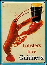 Targa in metallo miniatura/cartolina 'Guinness Lobsters Love...' (hi)