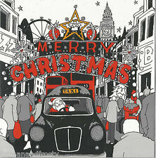 SANTA IN TAXI CAB & BIG BEN OXFORD STREET LONDON Glittery Sparkly CHRISTMAS CARD