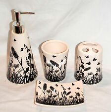 4pc Butterfly Bathroom Set White & Black Soap Dispenser & Dish Toothbrush Holder