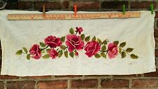 LARGE ANTIQUE EMBROIDERED NEEDLEWORK RAISED SILK CREWEL ON COTTON ROSES PANEL