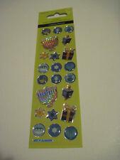 Scrapbooking Crafts Puffy Stickers Sandylion Hanukkah Dreidel Blue Gold Sparkly