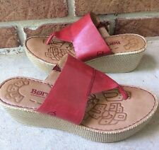 BORN RED LEATHER THONG WEDGE HEEL SANDALS SIZE 9/ 40.5