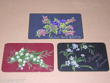 c1900. 3 VICTORIAN HAND PAINTED GIFT, GREETINGS CARDS. THREE FLOWER PAINTINGS