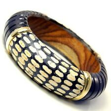 SPOTTED WOOD HAND CARVED BANGLE BRACELET MADE IN INDIA