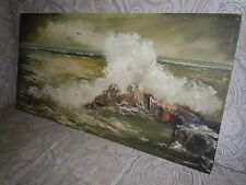 VINTAGE SIGNED OIL PAINTING on ARTIST BOARD H G WESTLUND SEASCAPE QUALITY RARE