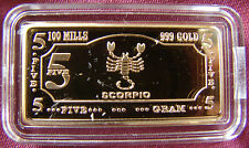 Gold Plated bar/ingot of lunar zodiac sign SCORPIO in plastic capsule! SCORPION!