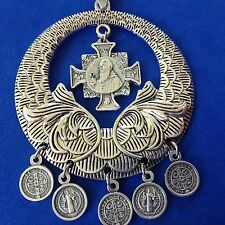 Rare St BENEDICT Custom Religious Catholic Saint Medal Charm NECKLACE Lot #2