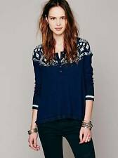 NWOT Free People blue CABIN IN THE WOODS SWIT fair isle sweater thermal M