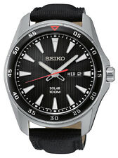 New Seiko SNE399 Solar Stainless Steel Day Date Black Leather Strap Men's Watch