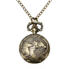 Vintage Copper Bronze 3 Horse Engrave Quartz Pocket Watch Pendant Chain Necklace