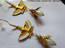 Egyptian revival earrings Orecchini Art Deco Stile Art Nouveau orecchino di perla lunga
