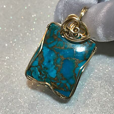 Copper TURQUOISE PENDANT Blue Green 14k Gold Filled w/ necklace 44ct 2732g1-2