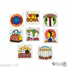 72 Birthday Party Favors BOWLING Strike Spare Me King Pin Temporary TATTOOS ~NEW