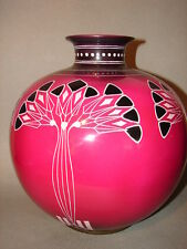 "Antique Royal Born Germany VASE 11"" Magenta Art Deco Design Porcelain Vintage LG"