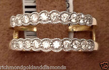 Solitaire Enhancer Round Diamonds Ring Guard Wrap Yellow Gold Milgrain Vintage