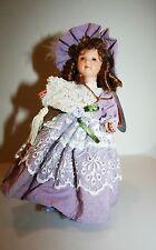 """Full-Body Victorian Porcelain-Doll-Lavender & Lace w/ fan Delton-NIB 7""""Bin #1"""