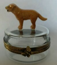 Limoges Hand Painted Porcelain Yellow Labrador Dog on Crystal Trinket Box