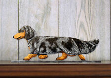 Dachshund Long Hair Dog Figurine Sign Plaque Display Wall Decoration Blue Dapple
