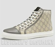 GUCCI Mens 10G gray Leather CALIFORNIA GG Supreme High top Sneakers NIB Authentc