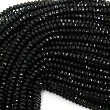 "2x4mm faceted jade rondelle beads 7.5"" strand black"