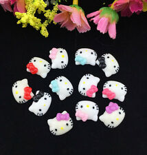 DIY 12pcs Cute Resin HELLO KITTY Mix Bow flatback Appliques For phone /craft