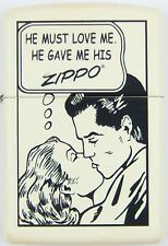 Zippo Lighter - Comic Strip - Cream - Limited Edition - Free Pack Of Flints
