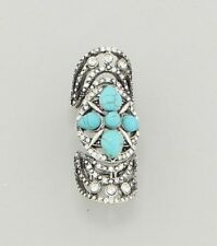 """2.25"""" silver crystal turquoise boho knuckle stretch ring"""
