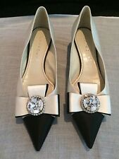 CASADEI Womens Jewel Ivory And Black Satin Pumps Size 10