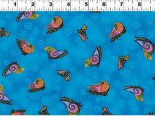 Fat Quarter Embracing Horses Birds Blue Cotton Quilting Fabric - Laurel Burch