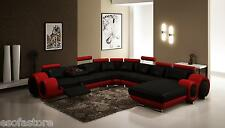 Divani Casa Modern Black and Red Bonded Leather Sectional Sofa For Living Room