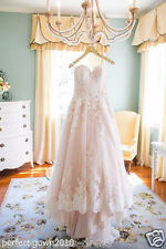 White/Ivory/Pink Lace Wedding Dress Bridal Gown Custom Size 2 4 6 8 10 12 14 16+