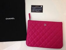 CHANEL Hot Pink Perforated Leather O case Clutch -NEW -SS 2015