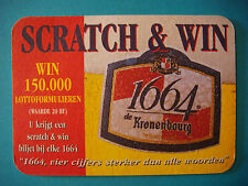 Beer Coaster Bar Mat ~ KRONENBOURG Brewery 1664 ~ Obanai, FRANCE ~ Lotto Contest