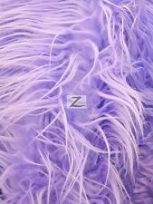 FAUX FAKE FUR SOLID MONGOLIAN LONG PILE FABRIC - Lavender - SOLD BY THE YARD