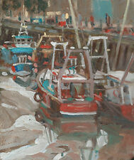 "ORIGINAL MICHAEL RICHARDSON ""Trawlers in Harbour"" Marine Seascape PAINTING"