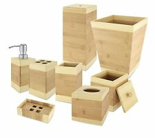 KOVOT Bamboo Bathroom Accessories 8 Piece Set - Adds Beautiful Natural Elegance