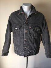Vintage Levi Strauss Mens Black Denim Jacket Flannel Lined 70417 Trucker Style M