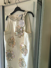 BLUMARINE BLUGIRL Ivory Silk Jewell Sequinned Dress IT 42 EUR 38 UK 10  BNWT