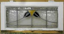 """MID SIZED OLD ENGLISH LEADED STAINED GLASS WINDOW Nice Floral 22.25"""" x 11.25"""""""