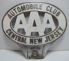 Vintage AAA Automobile Club Central New Jersey License Plate Topper Sign Plaque