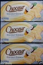 3 X Choceur German White Chocolate Coconut Crunch Bars. 3 Pack, 1/2 lb Bars