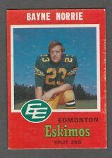 1971 OPC CFL BAYNE NORRIE EDMONTON ESKIMOS #46 (QUEENS GOLDEN GAELS) EXNRMT
