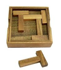 Four T's  wood brain teaser puzzle with box and cover