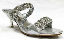 H4033 Prom Wedding Kitten Heel Rhinestone Strappy Slip On Slide Sandal Shoe SLVR