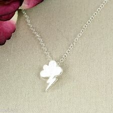 N4 Small Silver Plated Cloud Storm Lightning Pendant Necklace - Gift boxed