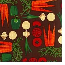 ROBERT KAUFMAN METRO MARKET VEGETABLES/ VEGIES BROWN COTTON FABRIC BTY