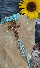 Cowgirl Bling Leopard Cross Turquoise Bead Tassel Christian Gypsy necklace