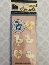 NEW 6x 3D STICKERS - YELLOW BABY INFANT BOOTIES DUCKS & HEARTS - Cardmaking